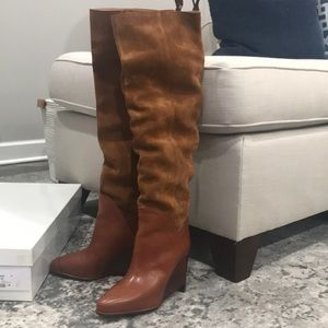 Maison Margiela Leather and suede boots and papaya